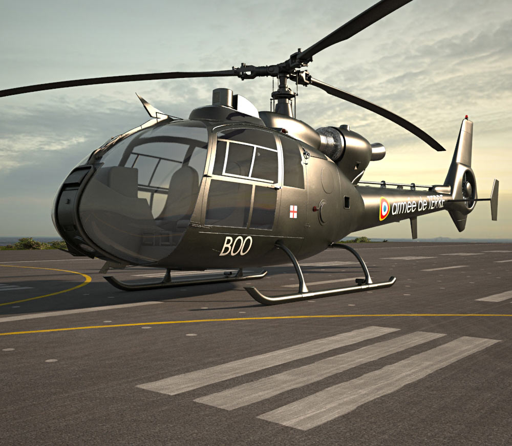 3D model of Aerospatiale SA-342 Gazelle