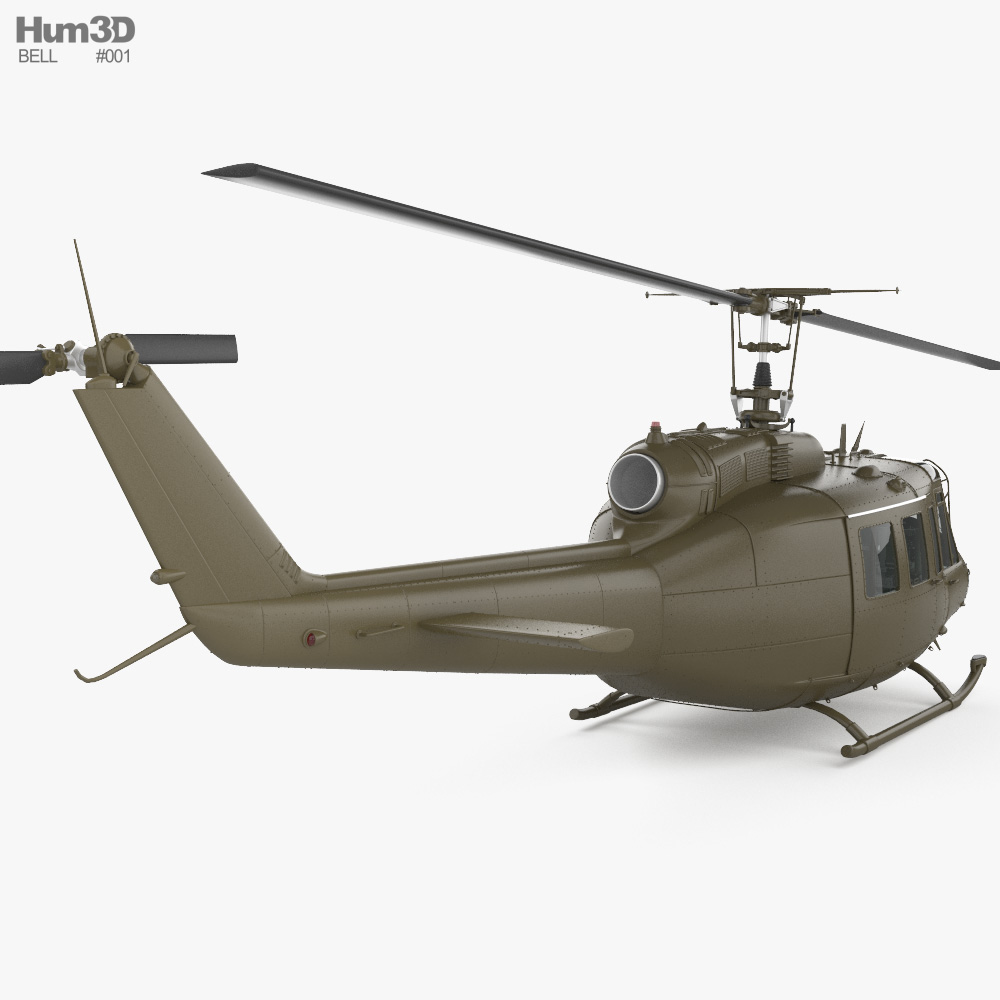 Bell UH-1 Iroquois with HQ interior 3d model
