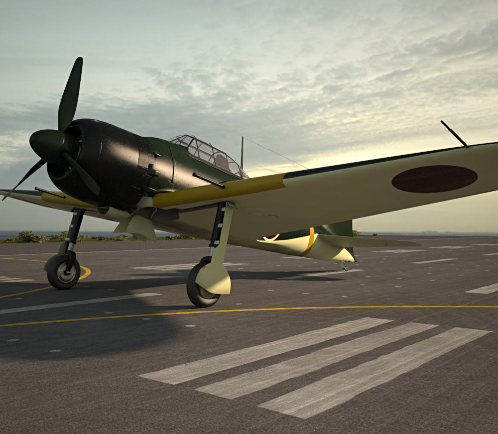 mitsubishi a6m zero 3d model - aircraft on hum3d