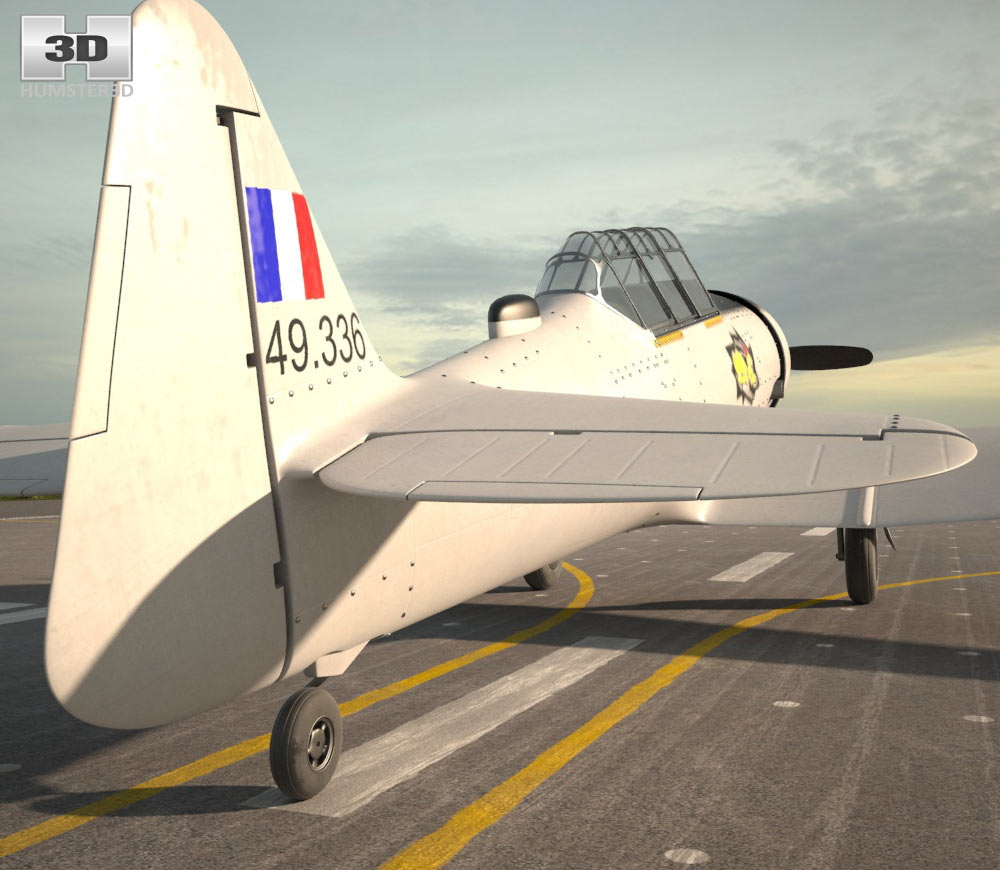 North American T-6 Texan 3d model