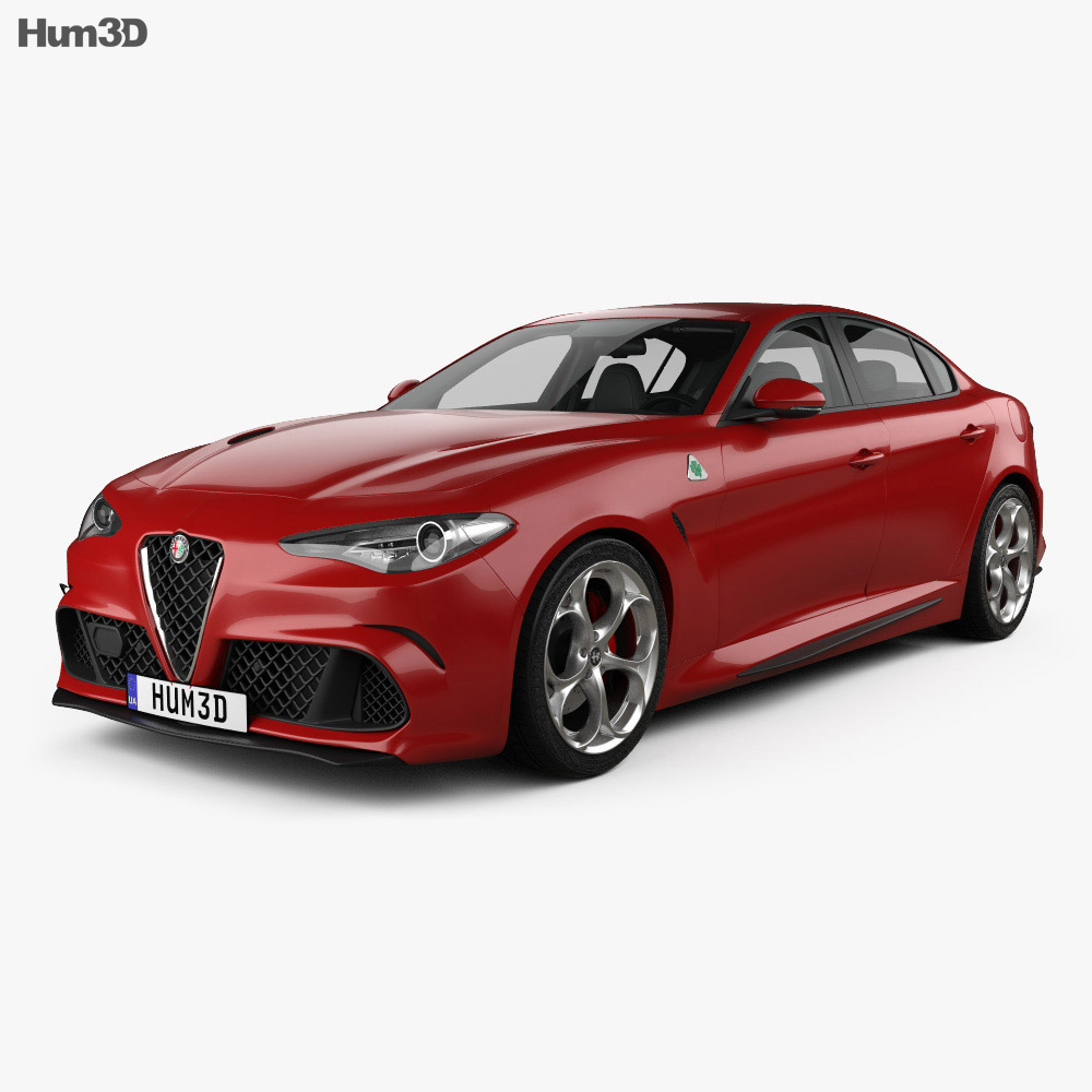 alfa romeo giulia quadrifoglio with hq interior 2016 3d model hum3d. Black Bedroom Furniture Sets. Home Design Ideas