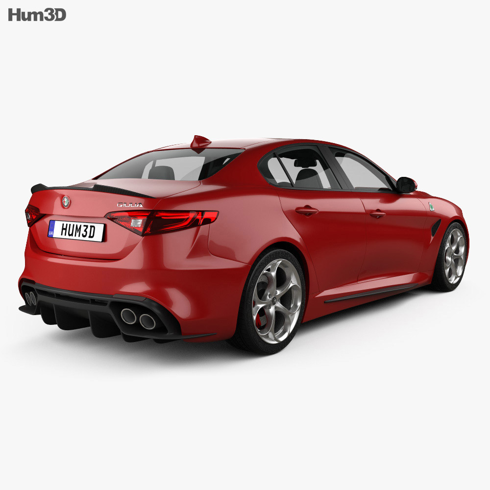 alfa romeo giulia quadrifoglio with hq interior 2016 3d model humster3d. Black Bedroom Furniture Sets. Home Design Ideas