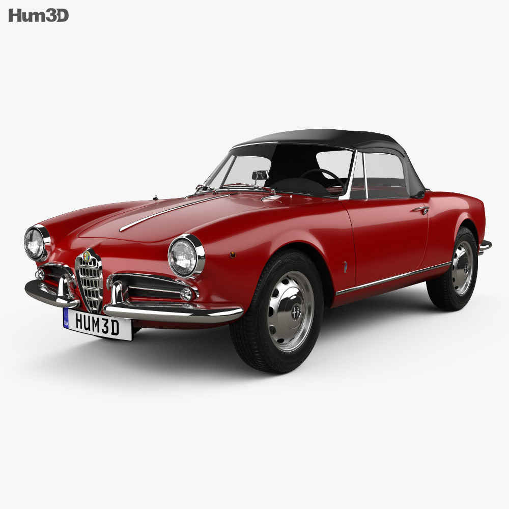 Alfa Romeo Giulietta spider with HQ interior 1955 3d model