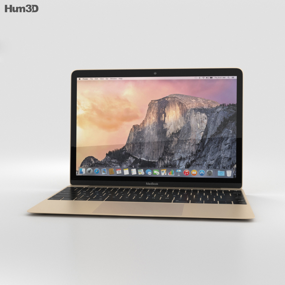 Apple MacBook Gold 3d model