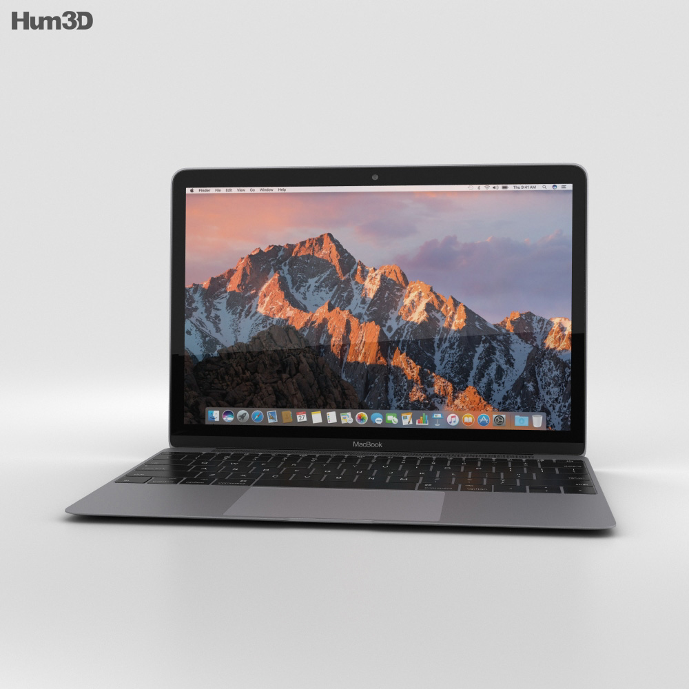 Apple MacBook (2017) Space Gray 3d model