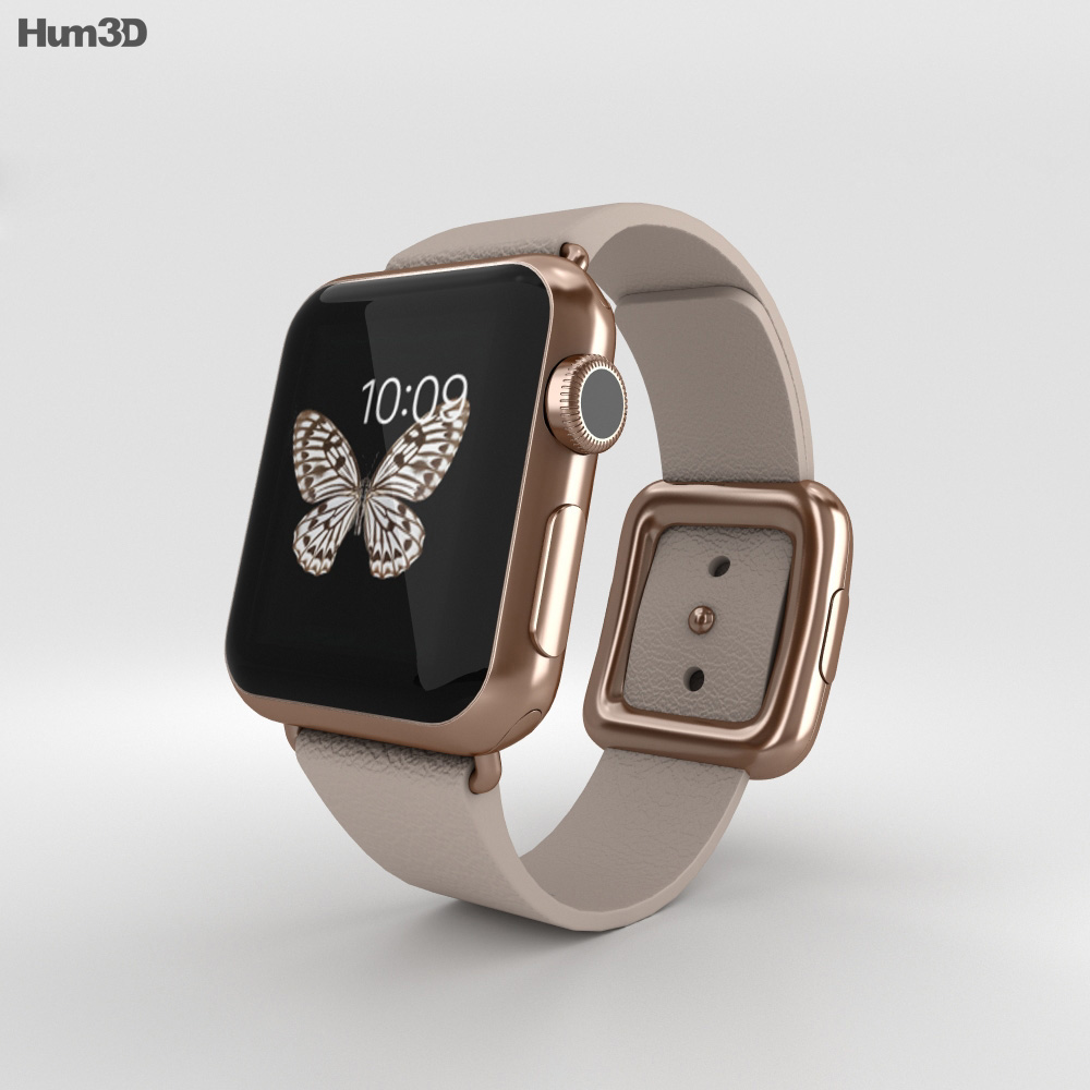 Apple watch edition 38mm rose gold case gray modern buckle 3d model electronics on hum3d for Rose gold apple watch