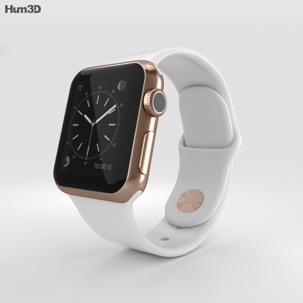 Apple watch edition 38mm rose gold case white sport band 3d model hum3d for Rose gold apple watch