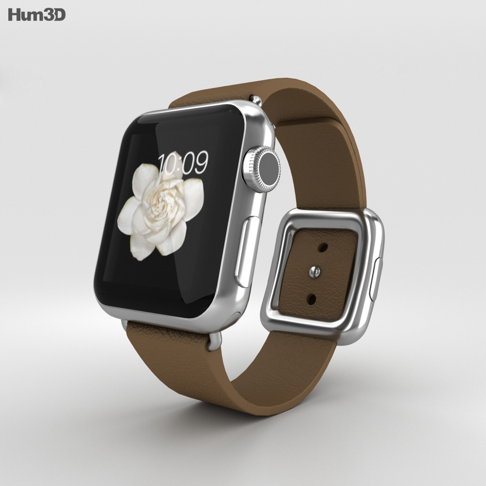 Apple Watch 38mm Stainless Steel Case Brown Modern Buckle 3d model