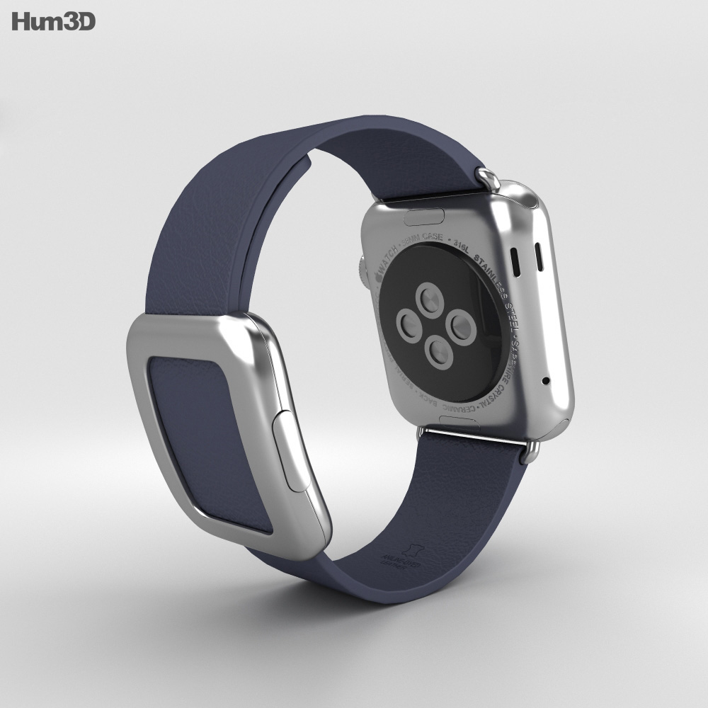 Apple Watch 38mm Stainless Steel Case Blue Modern Buckle 3d model