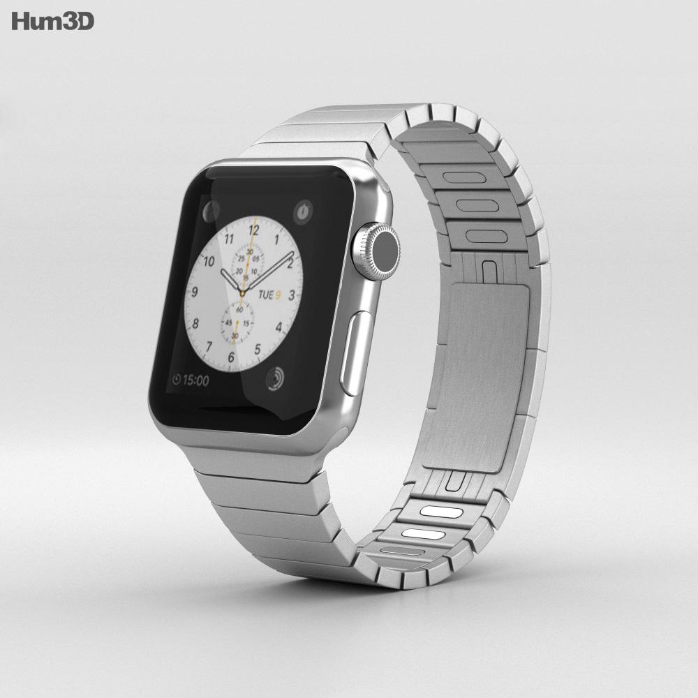 Apple Watch 38mm Stainless Steel Case Link Bracelet 3d model