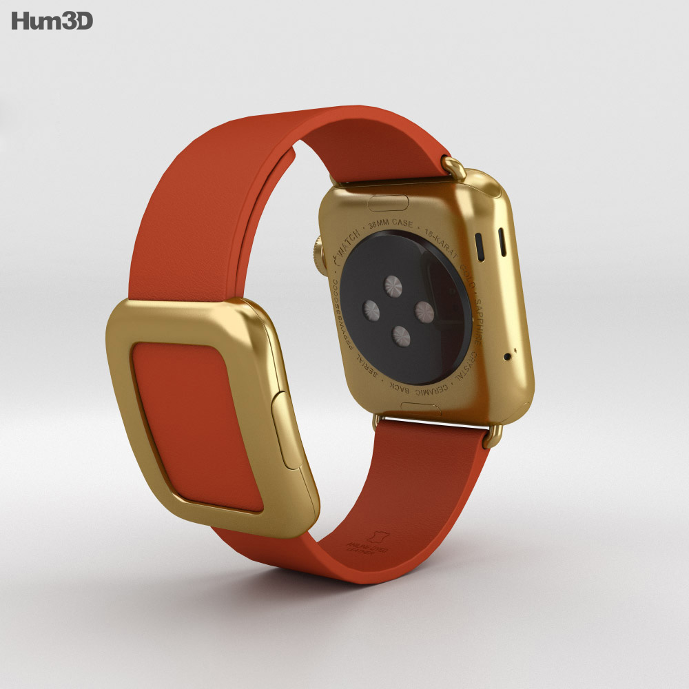 Apple Watch Edition 38mm Yellow Gold Case Red Modern Buckle 3d model