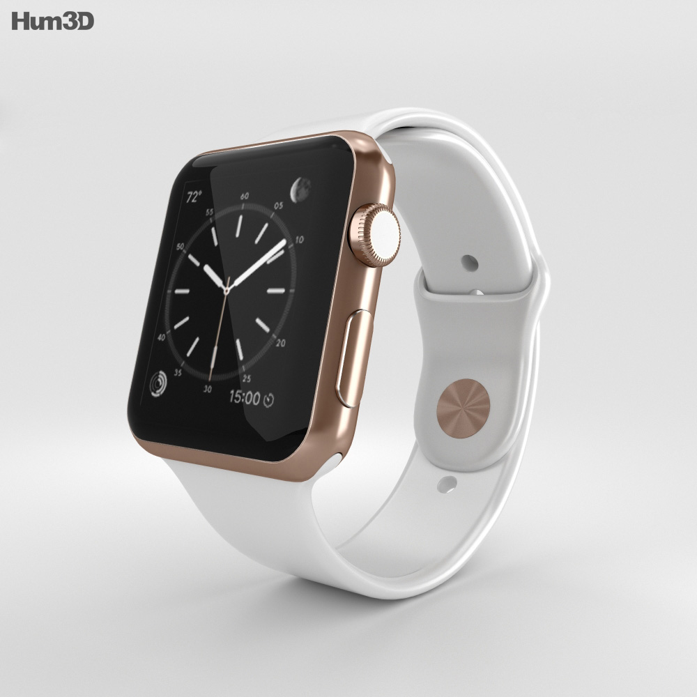 Apple watch edition 42mm rose gold case white sport band 3d model humster3d for Rose gold apple watch