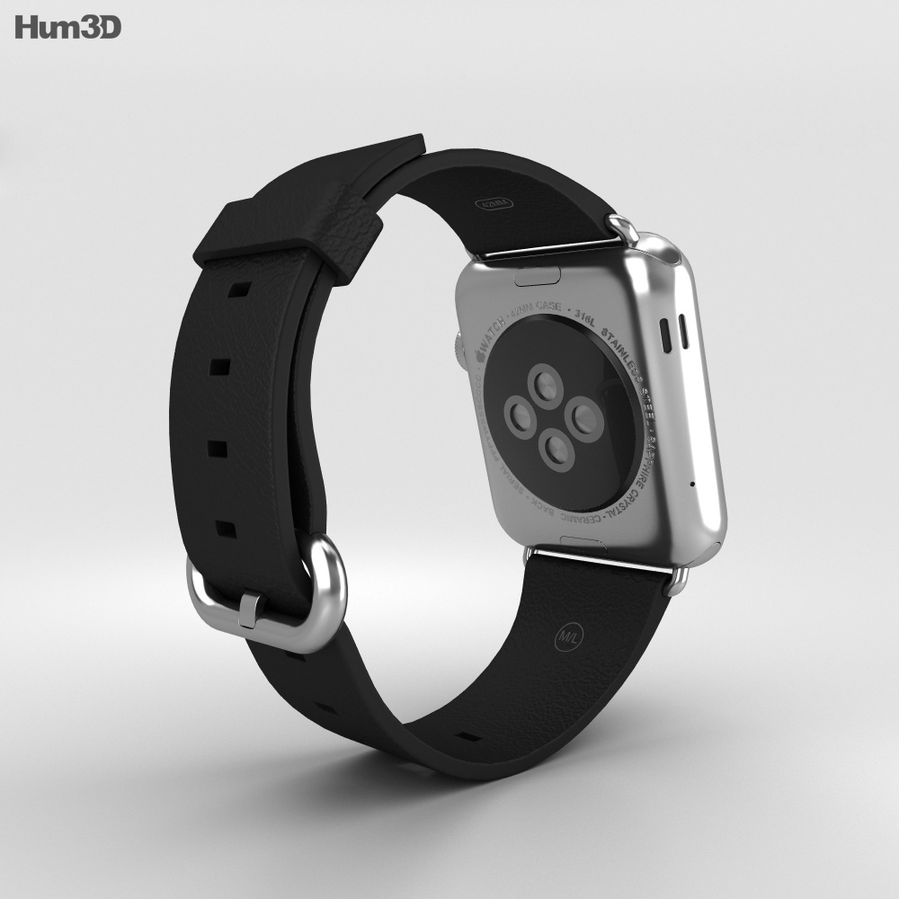 Apple Watch 42mm Stainless Steel Case Black Classic Buckle 3d model