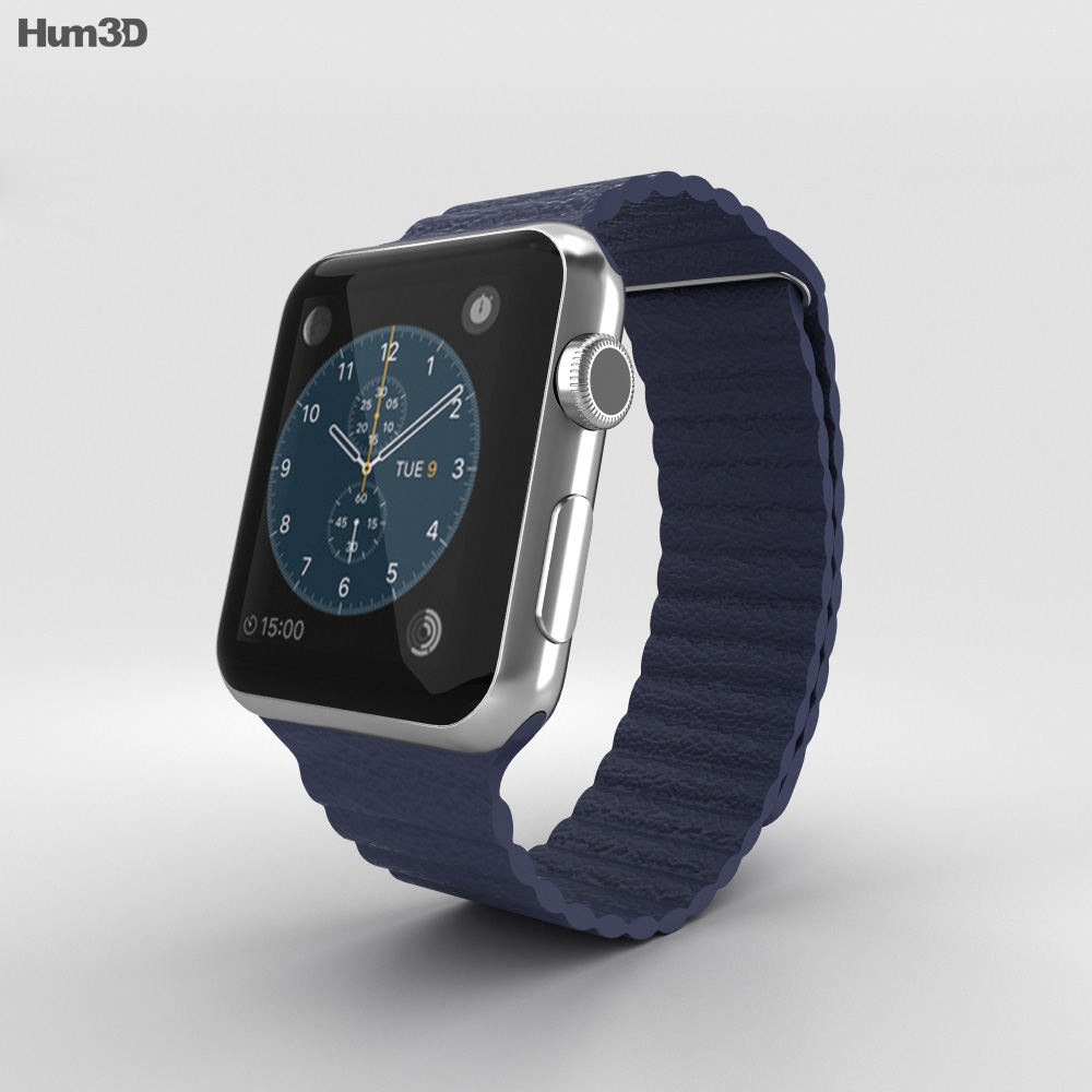 Apple Watch 42mm Stainless Steel Case Blue Leather Loop 3d model