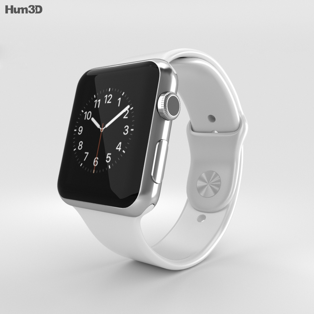 quality design 00992 f96a0 Apple Watch 42mm Stainless Steel Case White Sport Band 3D model