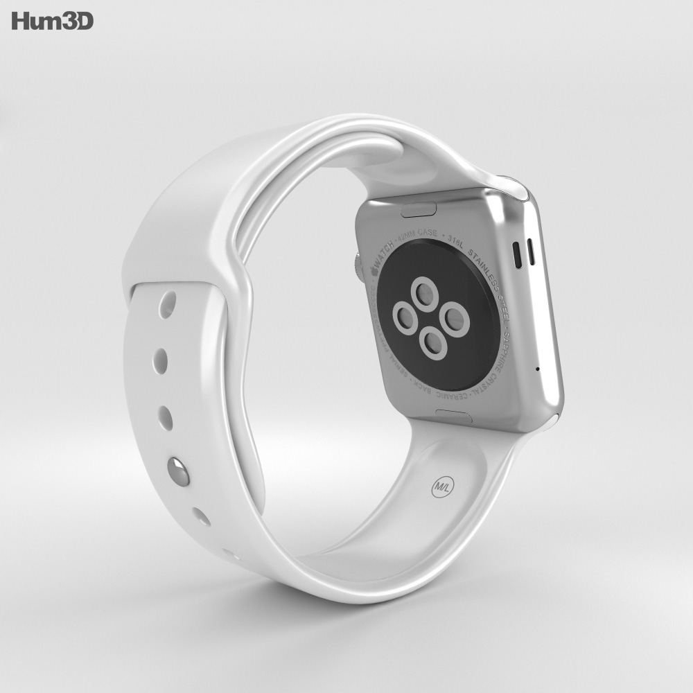 Apple Watch 42mm Stainless Steel Case White Sport Band 3d model