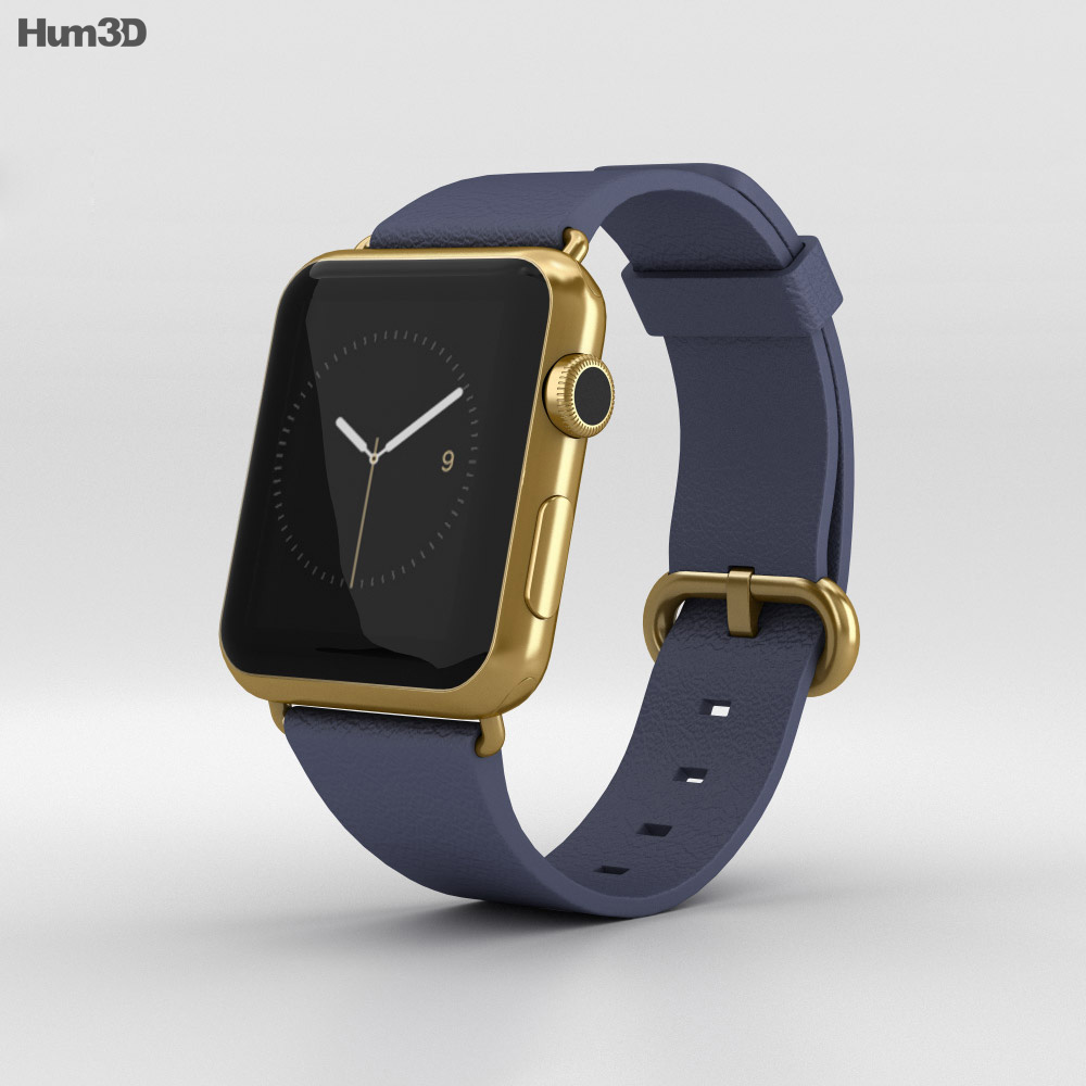 Apple Watch Edition 42mm Yellow Gold Case Blue Classic Buckle 3d model