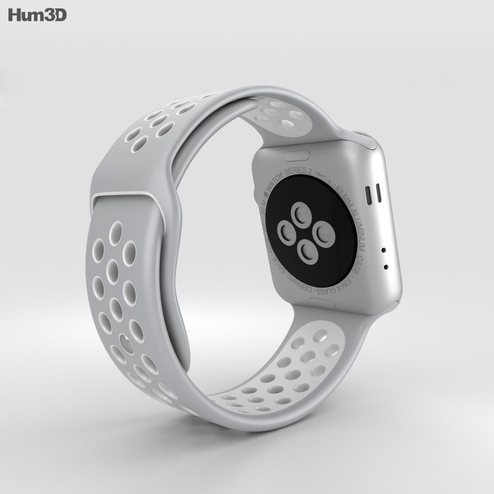 Apple Watch Nike+ 42mm Silver Aluminum Case Flat Silver/White Nike Sport Band 3d model
