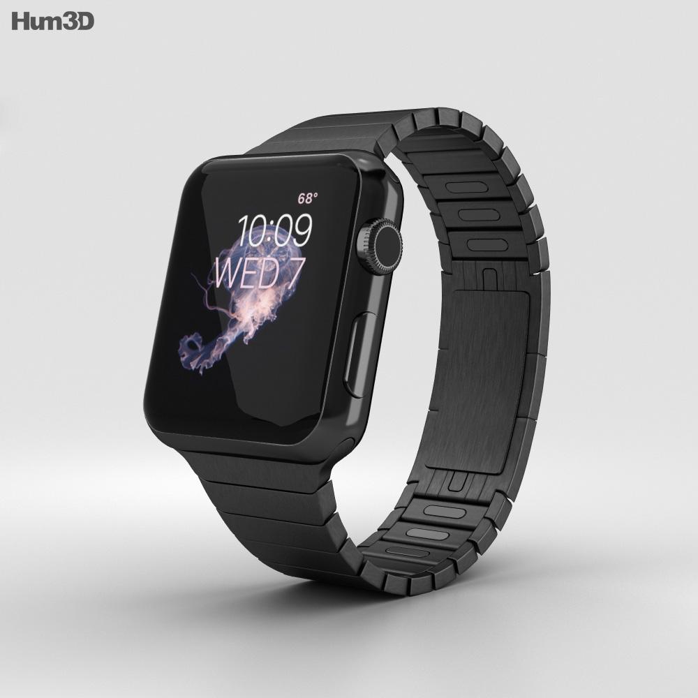 Apple Watch Series 2 38mm Stainless Steel Case Black Link Bracelet 3d model