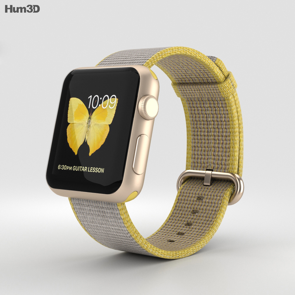 Apple Watch Series 2 38mm Gold Aluminum Case Yellow Light Gray Woven Nylon 3d model