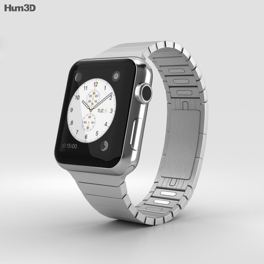 Apple Watch Series 2 38mm Stainless Steel Case Link Bracelet 3d model