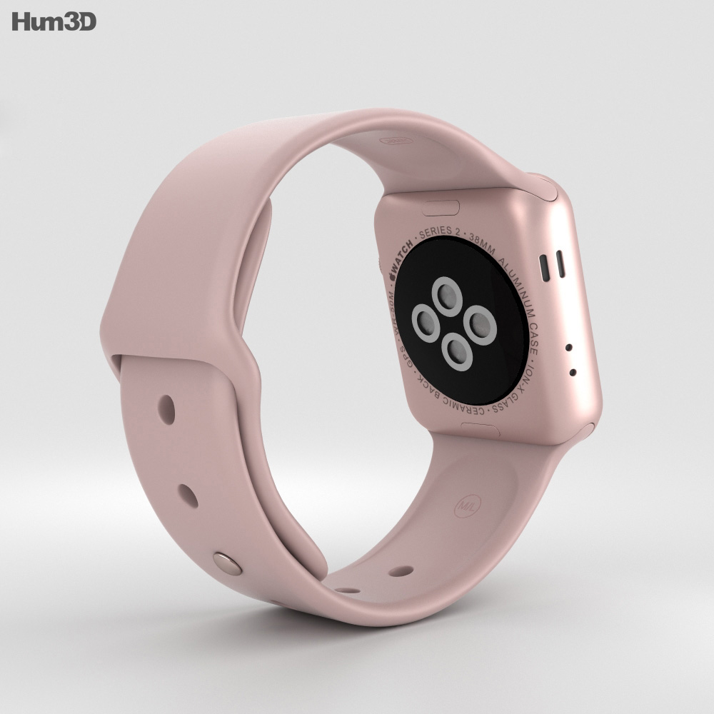 Apple Watch Series 2 38mm Rose Gold Aluminum Case Pink Sand Sport Band 3d model