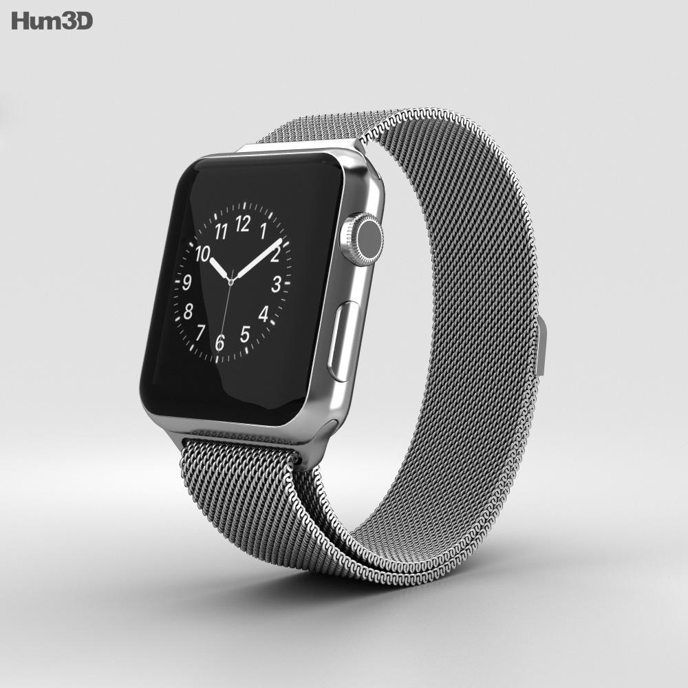 Apple Watch Series 2 38mm Stainless Steel Case Milanese Loop 3d model