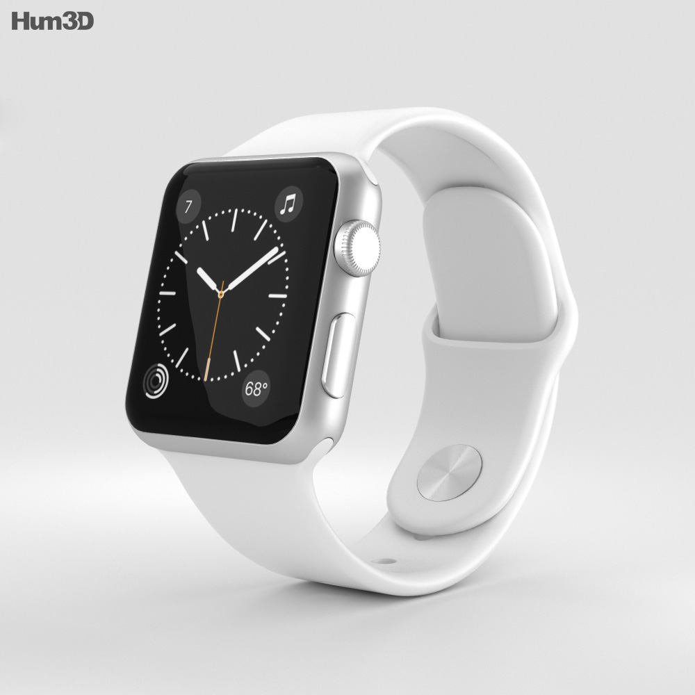 Apple Watch Series 2 38mm Silver Aluminum Case White Sport Band 3d model