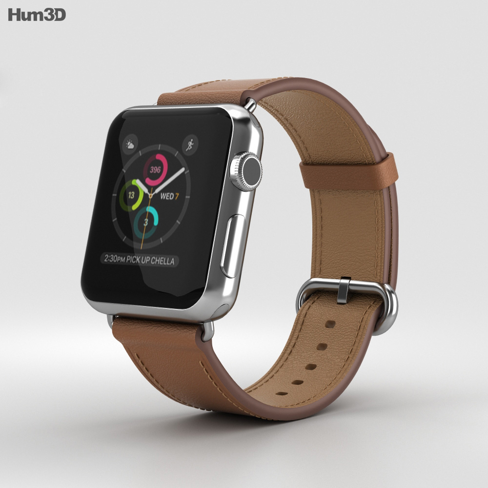 Apple Watch Series 2 38mm Stainless Steel Case Saddle Brown Classic Buckle 3d model