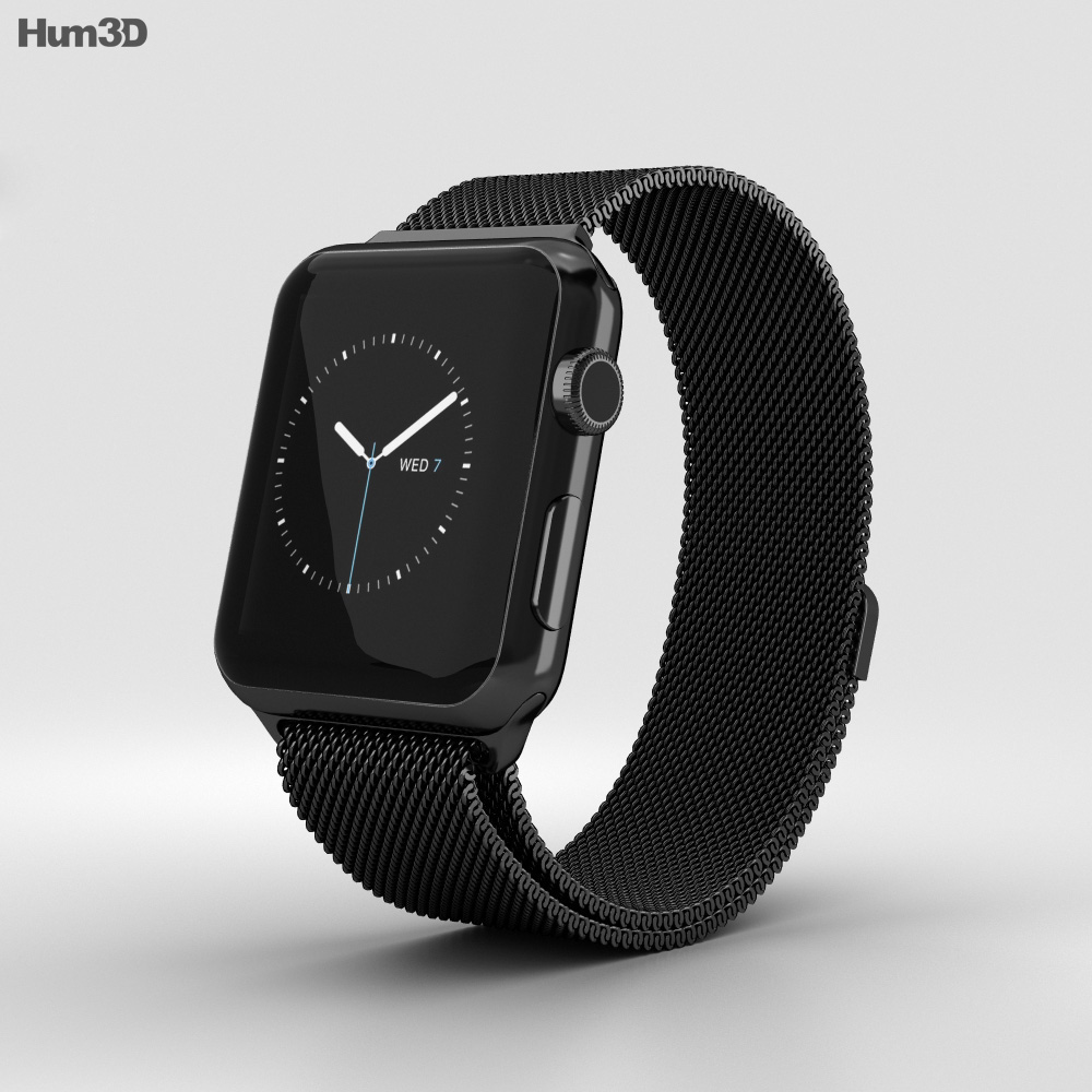 cheap for discount 6a093 4e5f0 Apple Watch Series 2 42mm Space Black Stainless Steel Case Black Milanese  Loop 3D model