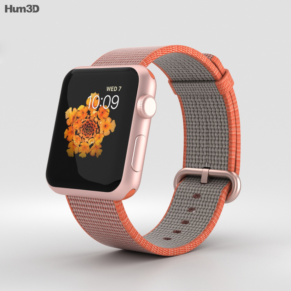 Apple Watch Series 2 42mm Rose Gold Aluminum Case Space Orange Woven Nylon 3d model