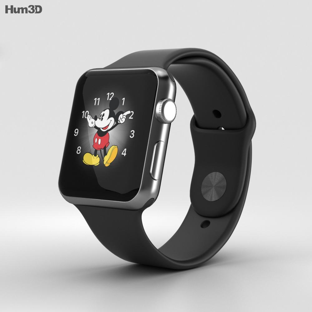 competitive price e5d07 fb1d4 Apple Watch Series 2 42mm Space Black Stainless Steel Case Black Sport Band  3D model