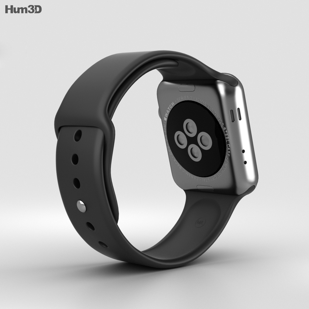 competitive price a876a c4477 Apple Watch Series 2 42mm Space Black Stainless Steel Case Black Sport Band  3D model