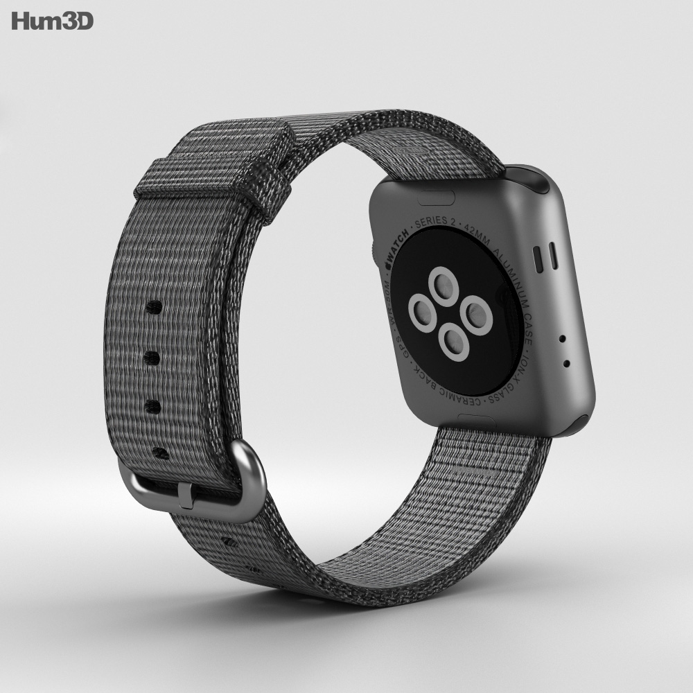 Apple Watch Series 2 42mm Space Gray Aluminum Case Black Woven Nylon 3d model