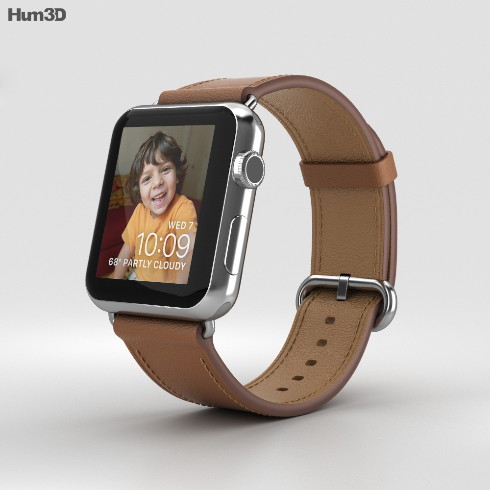 Apple Watch Series 2 42mm Stainless Steel Case Saddle Brown Classic Buckle 3d model