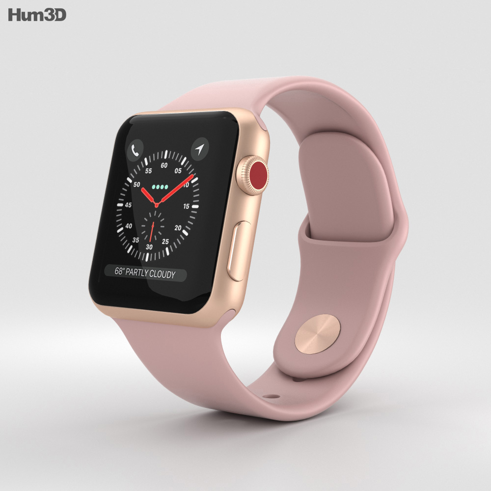 Apple Watch Series 3 38mm GPS + Cellular Gold Aluminum Case Pink Sand Sport Band 3d model