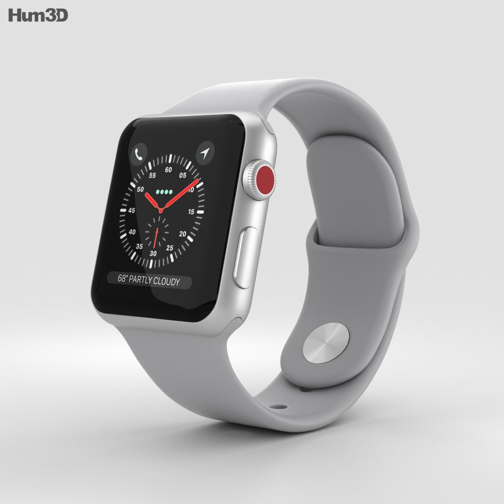 ef58e472bec Apple Watch Series 3 38mm GPS + Cellular Silver Aluminum Case Fog Sport  Band 3D model - Electronics on Hum3D