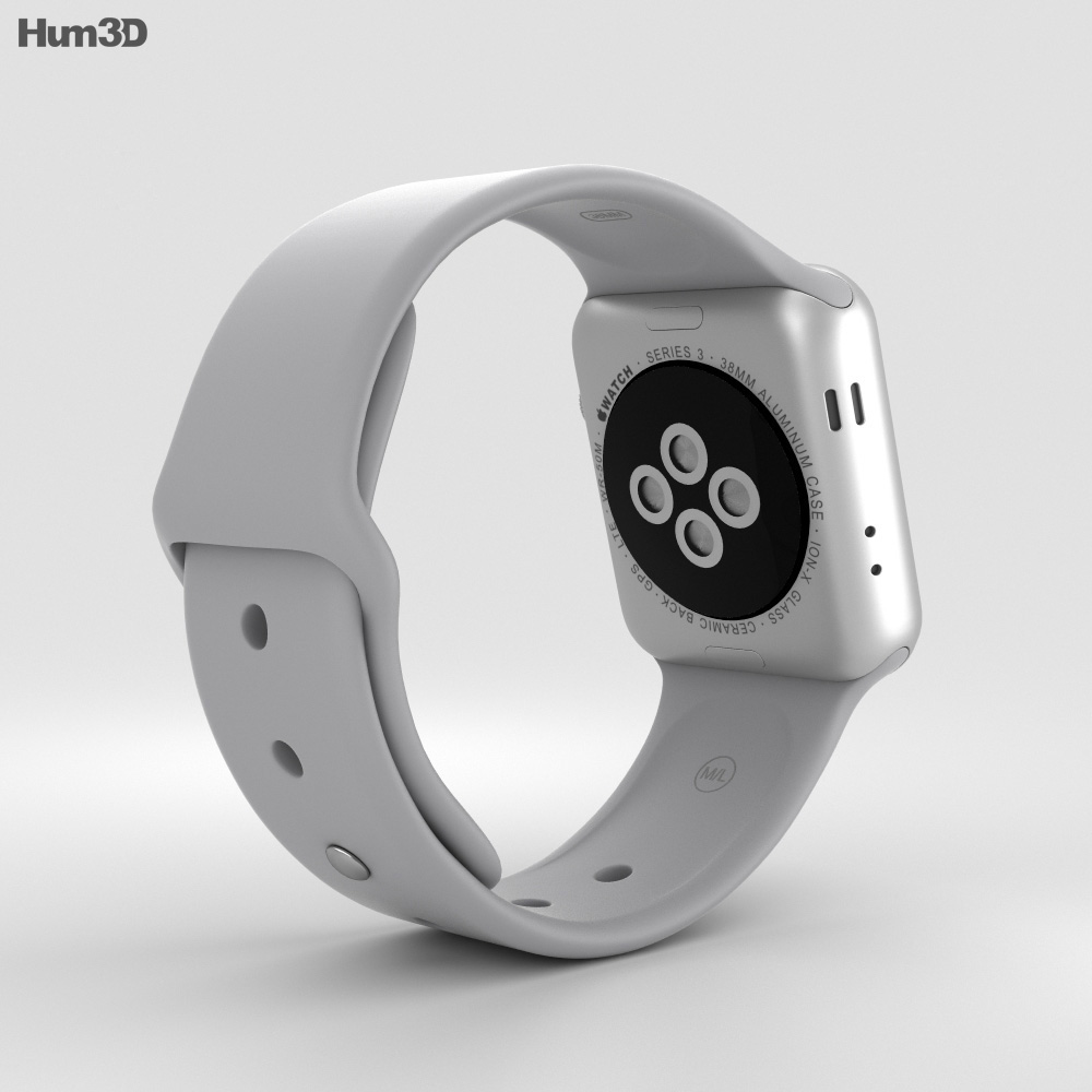 super popular e949c 1d9aa Apple Watch Series 3 38mm GPS + Cellular Silver Aluminum Case Fog Sport  Band 3D model