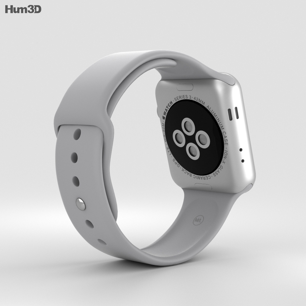 lowest price 08490 3520f Apple Watch Series 3 42mm GPS + Cellular Silver Aluminum Case Fog Sport  Band 3D model