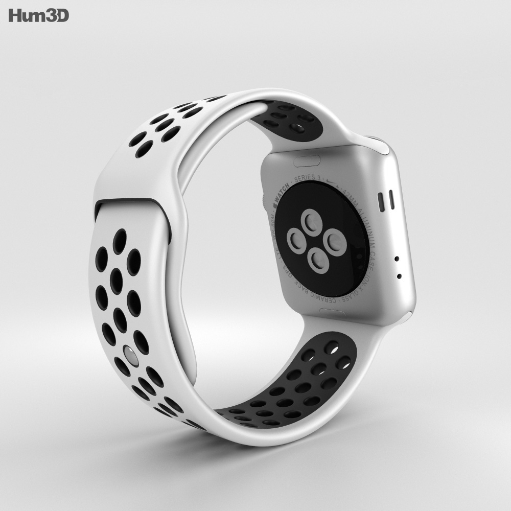 Claraboya pedir Religioso  Apple Watch Series 3 Nike+ 42mm GPS Silver Aluminum Case Pure  Platinum/Black Sport Band 3D model - Electronics on Hum3D