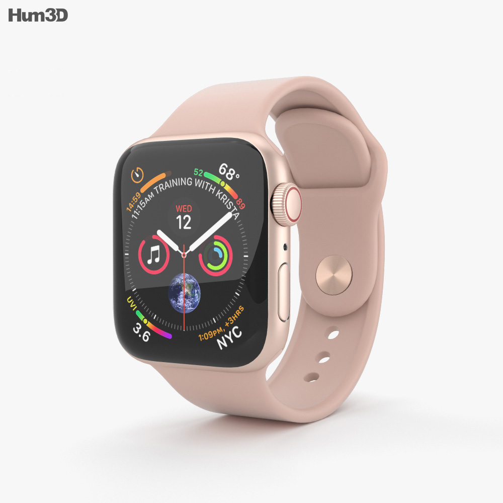 super popular 9b83a 6d614 Apple Watch Series 4 40mm Gold Aluminum Case with Pink Sand Sport Band 3D  model