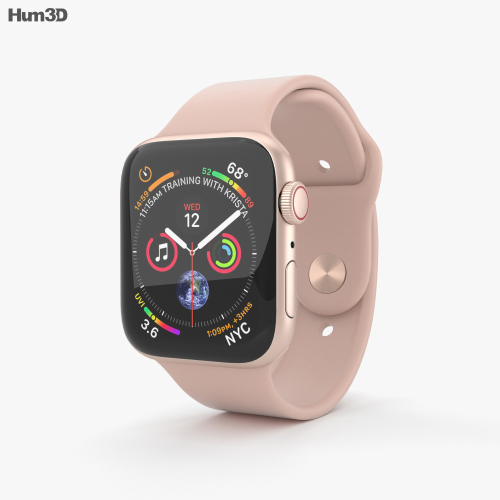 info for 3ab1c e7a4d Apple Watch Series 4 44mm Gold Aluminum Case with Pink Sand Sport Band 3D  model