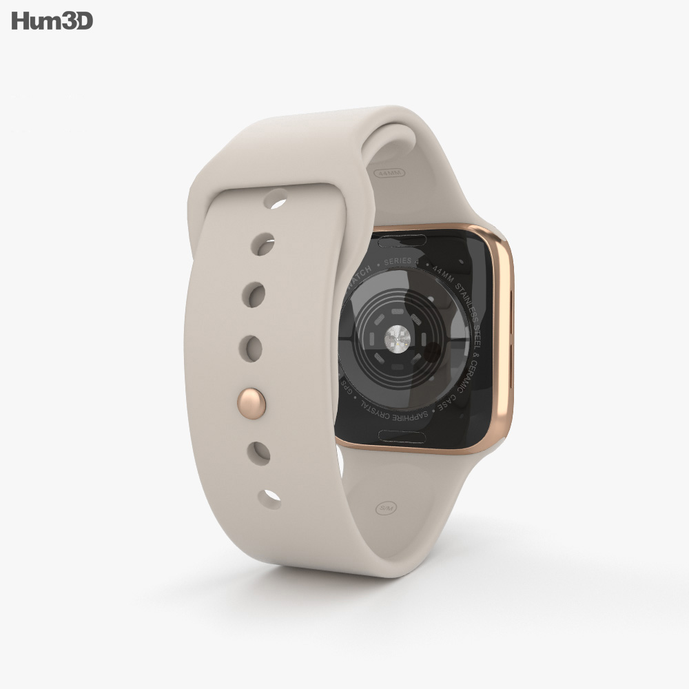 Apple Watch Series 4 44mm Gold Stainless Steel Case with Stone Sport Band 3d model