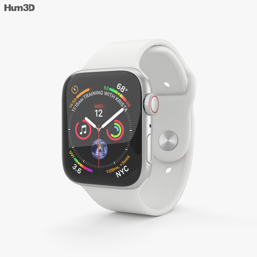 Apple Watch Series 4 44mm Silver Aluminum Case with White Sport Band 3d model