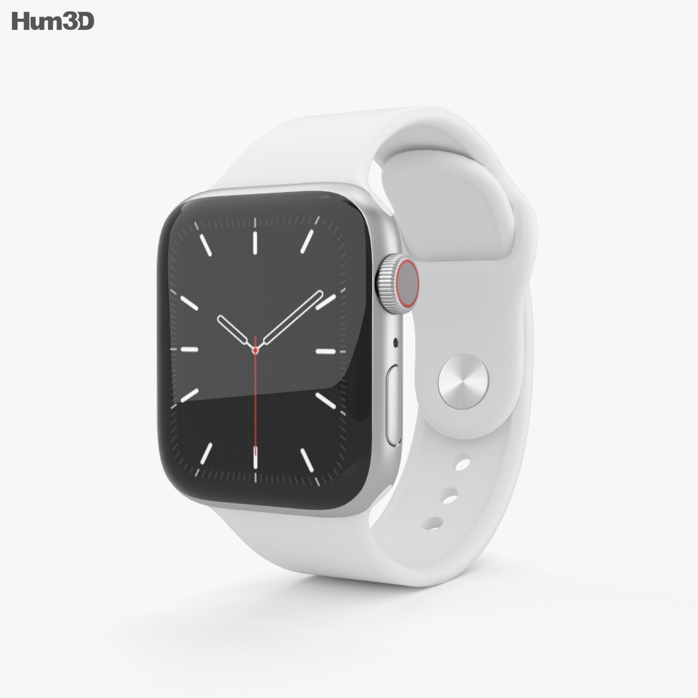 Apple Watch Series 5 40mm Silver Aluminum Case with Sport Band 3d model