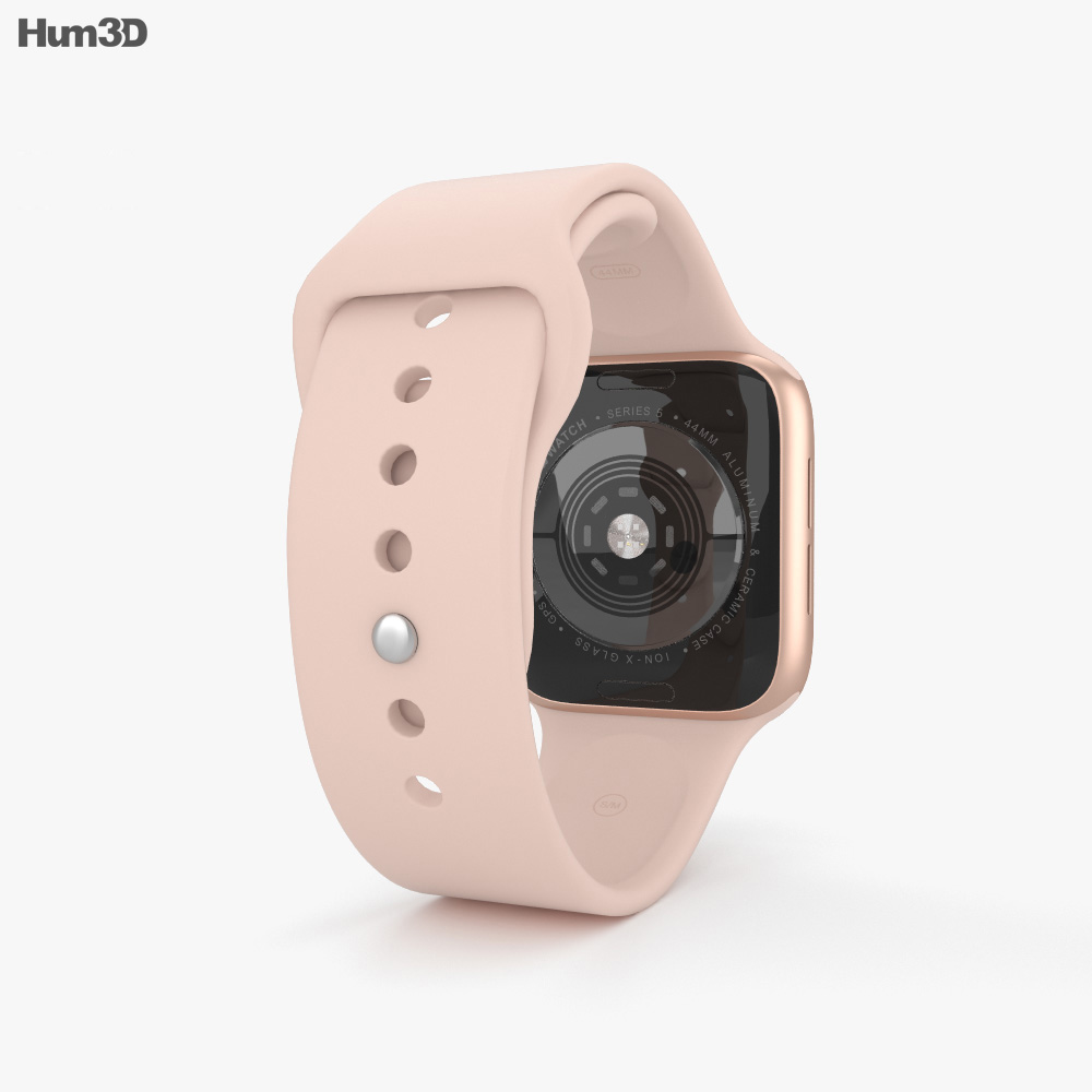 Apple Watch Series 5 44mm Gold Aluminum Case with Sport Band 3d model