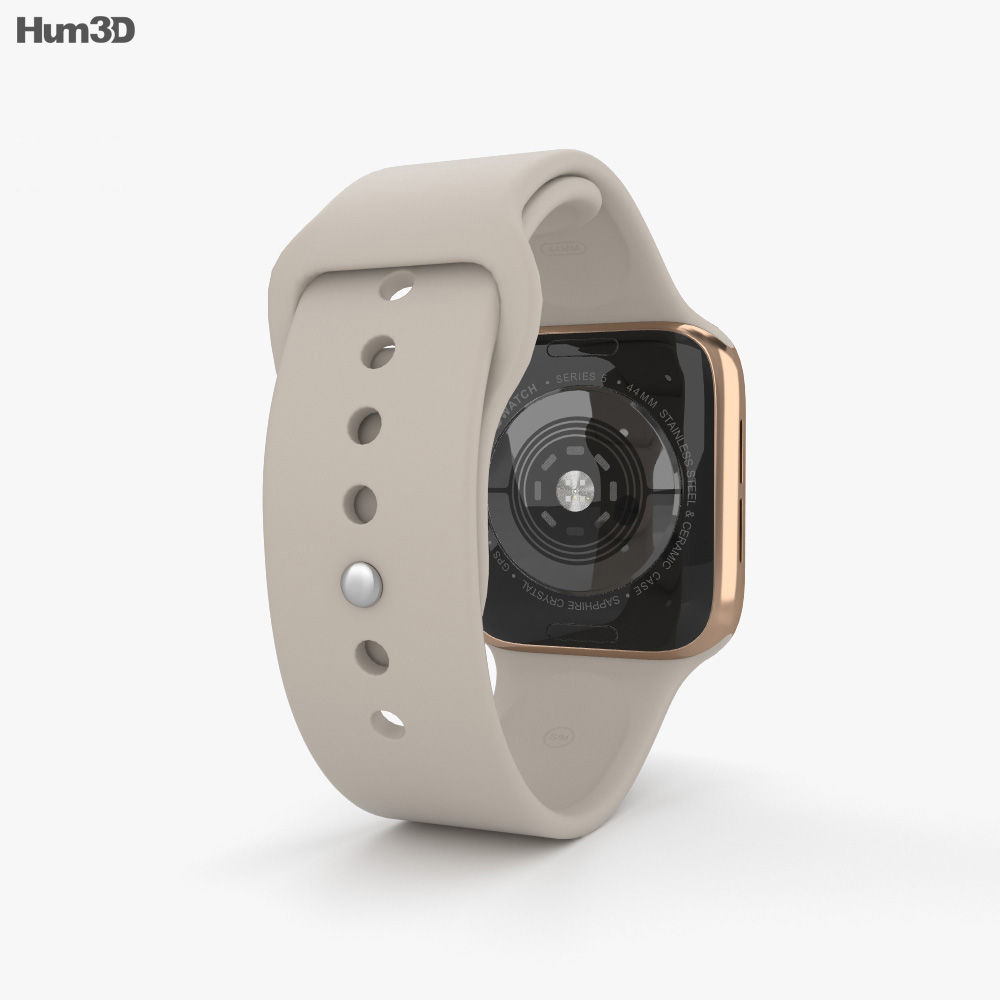 Apple Watch Series 5 44mm Gold Stainless Steel Case with Sport Band 3d model