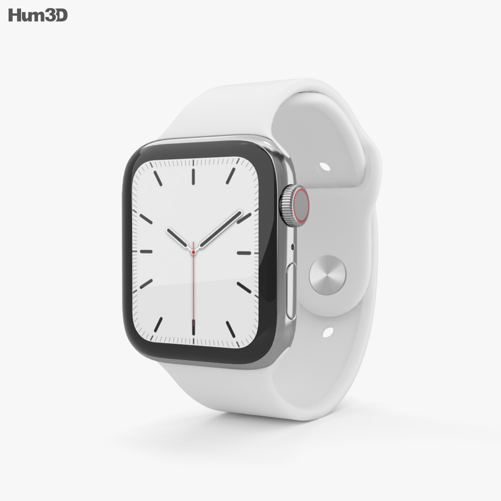 Apple Watch Series 5 44mm Stainless Steel Case with Sport Band 3d model