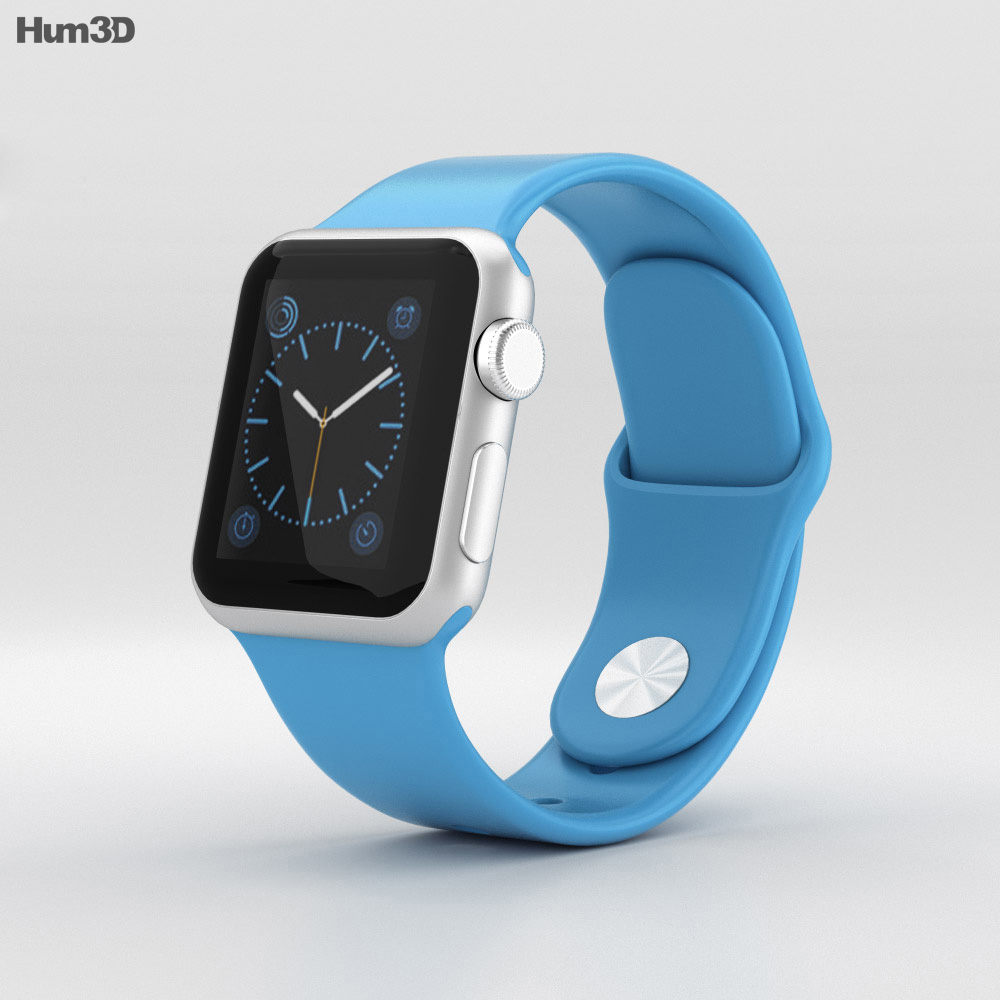 Apple Watch Sport 38mm Silver Aluminum Case Blue Sport Band 3d model