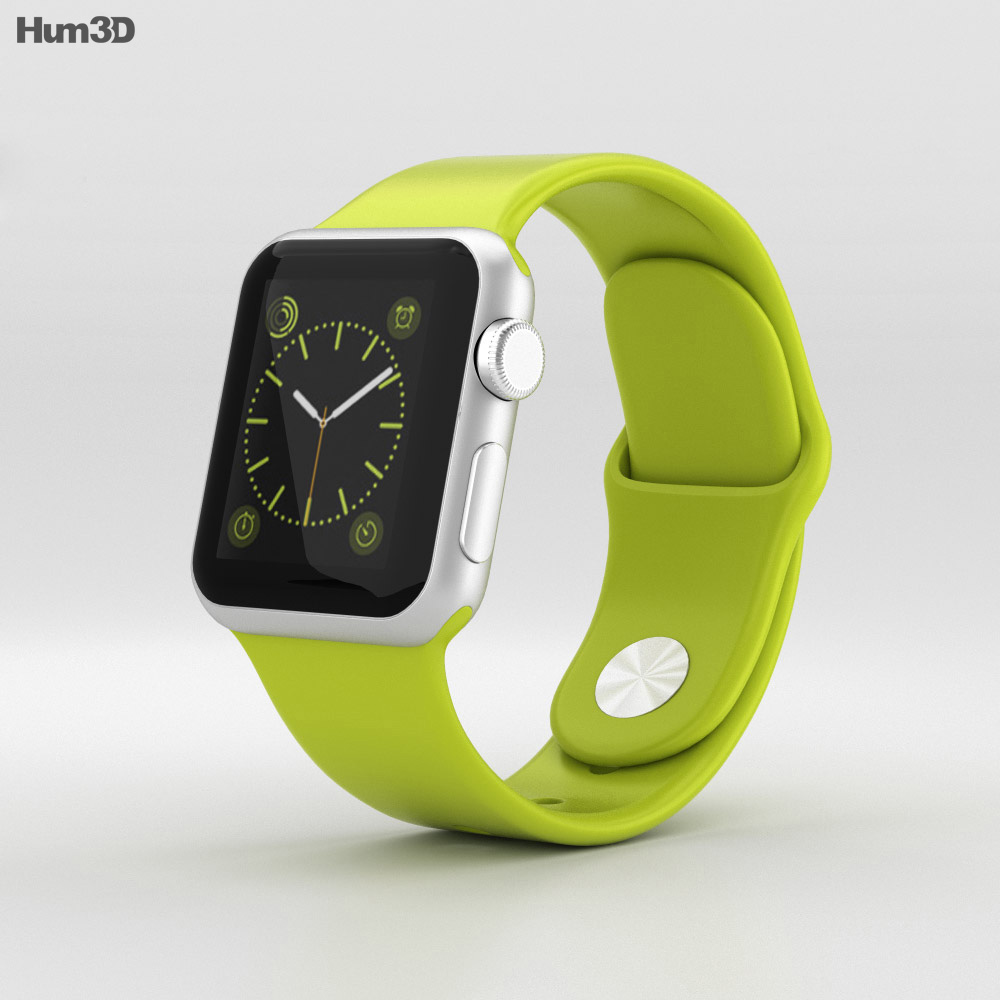 Apple Watch Sport 38mm Silver Aluminum Case Green Sport Band 3d model